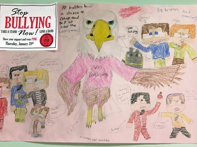 Photo by Nicole Flores Vogelweh Elementary School students designed posters encouraging students to stand up against bullying.