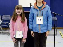 Sarah Stark, sixth-grade student in Imara Marti's class (left), and Ian Deaton, seventh-grade student in Gariann Wrenchey' s class, pose for a photo after recently competing in the Landstuhl Elementary Middle School spelling bee competition. Starting with 32 students, the competition went fairly quick with Deaton taking first place and Stark coming in as the runner up. Deaton will continue on to compete in the European Parent Teacher Association Spelling Bee competition Feb. 27.