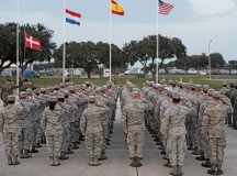 U.S. Airmen, along with their international counterparts, salute during the opening ceremony of exercise Real Thaw 16 Feb. 21 in Beja, Portugal. Real Thaw 16 is a Portuguese-hosted NATO exercise that provides tactical training to multiple participating nations. Its aim is to merge and employ different aerial platforms towards one major objective, covering a vast range of activities to include defensive and offensive counterair operations, high-value air assets protection and slow-mover protection. Approximately 3,500 service members throughout Europe and the U.S. are participating in the event.