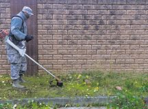 Photo by 1st Class Lane Plummer  Senior Airman Devonte Jenkins, 786th Civil Engineering Squadron heating, ventilation, air conditioning and refrigeration journeyman, uses a weed whacker around his working area during a base-cleanup day Nov. 3, 2015, on Ramstein. Airmen and civilians around Ramstein cleaned around the base to maintain a clean working environment.