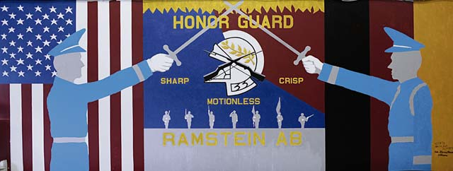 """A mural depicting the core values of the Ramstein Honor Guard is displayed March 15 on Ramstein. The mural shows the U.S. and German flags as well as the motto for the Ramstein Honor Guard, """"Sharp, Crisp and Motionless."""" For members interested in joining the Ramstein Honor Guard, call 480-1266 or 06371-47-1266."""