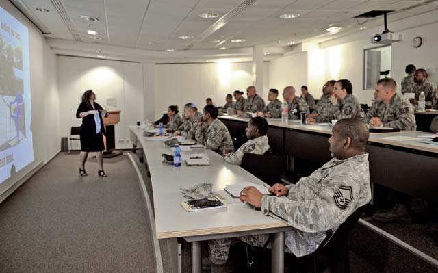 Tina Erzen, Air Force Academy Center for Character and Leadership Development program director, teaches a Core Values Coaching workshop to 86th Airlift Wing leaders March 21 on Ramstein. The 86th AW invited Erzen to teach on the importance of communication, empathy and guiding peers in a positive direction with personal and professional goals.
