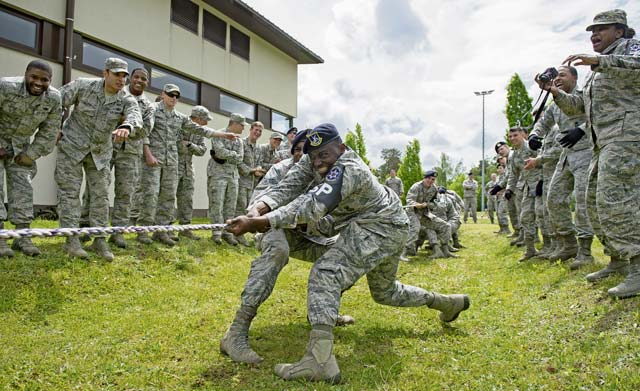Members of the 569th U.S. Forces Police Squadron participate in tug of war during the Battle of the Badges competition May 19 on Ramstein. Airmen and Soldiersparticipated in multiple events to determine the best local police unit. After hours of competition, the 435th Security Forces Squadron was declared the winner.