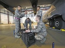 Tech. Sgt. Roscoe Tamondong, 86th Maintenance Group NCO in-charge instructor element (left), gives Airmen in the crew chief training course guidance on performing tire pressure checks on a C-130J Super Hercules May 17 on Ramstein. Tamondong is one of four training instructors assigned to the 86th MXG.