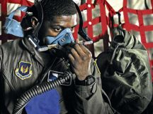 Senior Airman Johnathan Jeffery, 86th Aeromedical Evacuation Squadron technician, dons an oxygen mask during an exercise May 11 on Ramstein. The 86th AES Airmen constantly train for real-world, medical-evacuation missions to ensure patients have the best care possible.