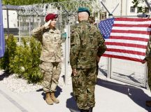 Courtesy photo U.S. Army Capt. Briana Bailey salutes Polish army Col. Artur Bogowicz, NATO Force Integration Unit Poland commander, after he promoted her outside of the NATO Force Integration Unit headquarters building May 6 in Bydgoszcz, Poland. NATO established six NFIUs following the 2014 Wales Summit, a meeting of the NATO heads of state. Each of these NFIUs has about 40 personnel, including a major and lieutenant from the 16th Sustainment Brigade, 21st Theater Sustainment Command.