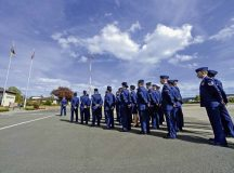 Airmen from the 86th Operations Group stand in a formation before a retreat and remembrance ceremony April 29 on Ramstein.