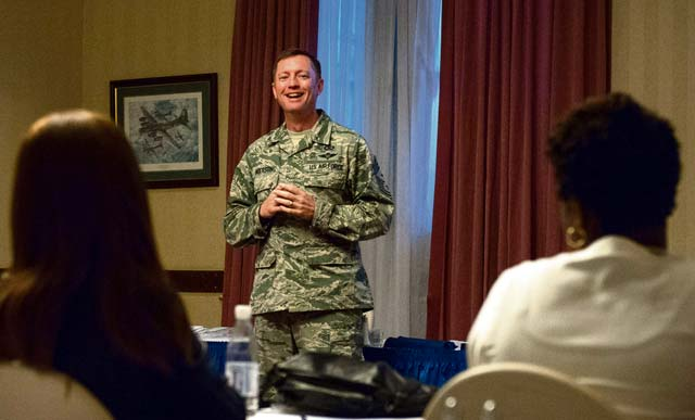 Chief Master Sgt. George Anderson, United States Air Forces in Europe Squadron Section Commander first sergeant, shares advice with a group of spouses during a professional enhancement seminar Aug. 11, 2016, at Ramstein Air Base. The PES trains senior NCOs select in areas such as stress management, ethics, core values, mentoring and counseling.