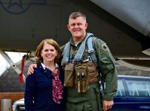 Gen. Frank Gorenc and Mrs. Sharon Gorenc stand together in front of a F-15 at Royal Air Force Lakenheath, U.K., in August 2015. Yesterday, the general culminated a 37 1/2-year career when he relinquished command of U.S. Air Forces in Europe, U.S. Air Forces Africa and NATO's Allied Air Command.