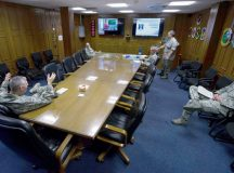 A group of commanders from the 435th Air Ground Operations Wing participate in an inspection meeting Aug. 4 on Ramstein. The meetings are designed to properly train commanders on what to expect during inspections.