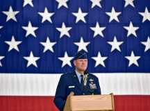 Photo by Airman 1st Class Lane T. Plummer Brig. Gen. Jon T. Thomas looks upon the formation as he accepts the position as 86th Airlift Wing commander June 19, 2015, on Ramstein. Thomas served 14 months as the commander before being re-assigned to a new role at Scott Air Force Base, Illinois.