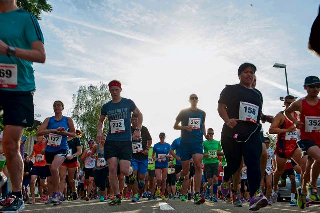 Kaiserslautern Military Community members run during the Ramstein Half Marathon August 20, 2016, at Ramstein Air Base. Approximately 400 participants ran 13.1 miles around the base.