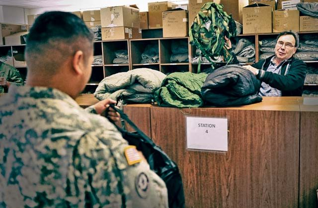 U.S. Army photo  A Soldier turns in clothing and individual equipment at the Kaiserslautern Central Issue Facility, one of several locations where a more efficient inventory management system was put in place.