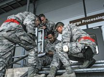 Airmen assigned to the 86th Logistics Readiness Squadron take a knowledge test during the 2016 European Port Dawg Rodeo Sept. 17 on Ramstein. In addition to the knowledge test, Airmen from the 86th Airlift Wing, 435th Air Ground Operations Wing and 521st Air Mobility Operations Wing competed in physical activities related to their job to earn bragging rights as being the best of the best.