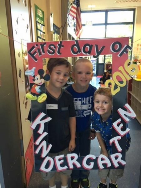 Callen Probst (left), Brian Carr (center) and William Hodl, Vogelweh Elementary School students, pose for a picture during their first day of kindergarten in Summer Pickel's class Sept. 6 at VES.