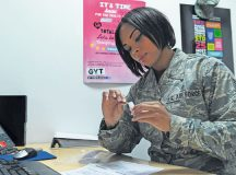 Tech. Sgt. Jessica Roofe, 86th Aerospace Medicine Squadron NCO in charge of epidemiology, prepares a tick to be sent for testing Sept. 9 on Ramstein. Ticks brought to the office by KMC members are tested for Lyme disease.