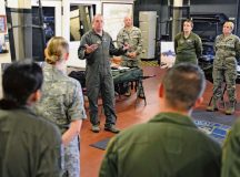 Photo by Senior Airman Jimmie Pike Brig. Gen. Richard G. Moore, 86th Airlift Wing commander, talks to members of the 86th Operations Group Aug. 22 during his immersion tour.