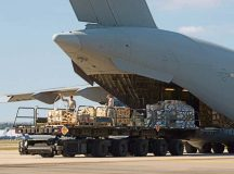 Airmen from the 721st Aerial Port Squadron load a C-17 Globemaster III Sept. 7 on Ramstein. The 721 APS broke a record July 27 loading 120 tons of cargo onto a Boeing 747, the highest allowable cargo load utilized on any commercial aircraft.