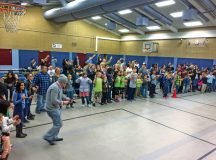 Parents, friends and students join in for the Chicken Dance Oct. 20 at Sembach Elementary School. SES students performed several traditional folk dances and families competed in a chili cook-off as part of the SES Parent Teacher Organization monthly meeting.