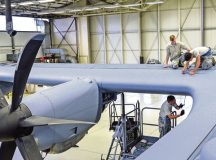 Airmen from the 86th Aircraft Maintenance Squadron remove the wing leading edge to facilitate structural repair on a C-130J Super Hercules wing Oct. 25 on Ramstein. Crew chiefs and aircraft electrical and environmental specialists often work together to repair and troubleshoot aircraft.