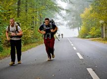 Participants in the 786th Civil Engineer Squadron's explosive ordnance disposal ruck and run complete their final lap Oct. 28 on Ramstein. Although 786 CES's EOD flight conducts ruck marches every month, the October ruck and run was a special Halloween-themed event designed to support the Combined Federal Campaign.