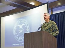 U.S. Marine Corps Gen. Thomas Waldhauser, U.S. Africa Command commander, gives his opening statement at the annual Regional Synchronization Working Group symposium Nov. 14 on Ramstein. The event is an Africa-focused security cooperation forum with leaders from the Department of State, Department of Defense, U.S. Agency for International Development and other personnel to synchronize efforts across the diplomatic, defense and developmental sectors in AFRICOM.