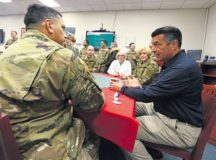 Nevada Governor Brian Sandoval meets with his constituents Dec. 9 at Landstuhl Regional Medica Center. Sandoval, along with the governors of Wisconsin and Oklahoma, traveled to the U.S. Air Forces Central Command area of responsibility to interact with constituents and LRMC.