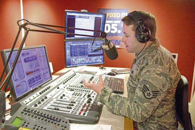 Courtesy photo Staff Sgt. Benjamin Smith, radio NCO in charge with Armed Forces Network Kaiserslautern, keeps informing listeners about the move to 105.1 FM scheduled for Wednesday. U.S. specs cars will be able to tune to the station, fixing an issue plaguing listeners for years.