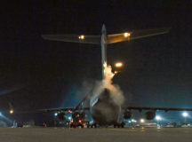 Air Force Reserve Airmen assigned to the 452nd Aircraft Maintenance Squadron and 446th Maintenance Squadron spray propylene glycol onto a C-17 Globemaster III aircraft Jan. 19 on Ramstein. The purpose of the spray is to de-ice the tail and wings of aircraft that are about to depart. Airmen from multiple reserve aircraft maintenance squadrons are on a temporary duty assignment at Ramstein to train with the 721st Aircraft Maintenance Squadron, which is part of the 521st Air Mobility Operations Wing.