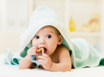 Photo by Oksana Kuzmina/Shutterstock.com Some best practices to help your child cope during the theething phase include letting them chew on a cold damp washcloth or cold teething rings, or gently rubbing their gums with a clean finger.