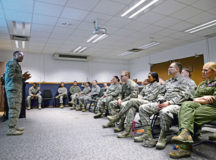 Staff Sgt. Karriem Abdulahad, 86th Security Forces Squadron training instructor, teaches the Expeditionary Active Shooter Training course information to his students Dec. 15 on Ramstein. Abdulahad adds personal information to the course by informing students about his experience with active-shooter situations.
