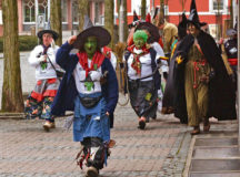 """Courtesy photos Females dressed as old women and witches storm town hall in Ramstein-Miesenbach at 11:11 a.m. each year on """"Altweiberfasching."""" Women in disguise will take the reigns Thursday."""