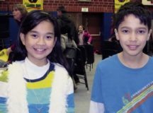 Hannah San Pedro, Landstuhl Elementary Middle School fifth-grader in Sharon Emerling's class (left), and Nicholas Biega, LEMS fourth-grader in Andrew Mako's class, pose for a photo after the LEMS Spelling Bee Jan. 25 at LEMS. San Pedro took second place, while Biega came in first and will compete at the regional competition March 18 in Kaiserslautern.