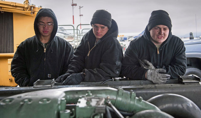 Airmen 1st Class Briann Eddy (left), Brennan Gregory (center) and Dakota Staten, 86th Vehicle Readiness Squadron special vehicle maintenance journeymen, inspect a Tunner 60K Loader Jan. 30 on Ramstein. All three have been together since technical training in California and are part of a 12-man shop responsible for keeping vehicles on the flightline operable at all times.