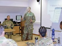 Command Sgt. Maj. Raymond L. Brown, the senior enlisted leader for the 7th Mission Support Command, hosts a senior enlisted leadership forum for more than a dozen 7th MSC senior enlisted leaders and noncommissioned officers Jan. 23.