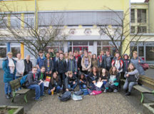 Courtesy photo Students from Jeanette Street's Sembach Middle School German I class (right side) visited students from Simone Franz's English class (left side) March 6 at the Winnweiler Wilhelm-Erb-Gymnasium.