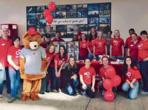 Courtesy photo Red Cross staff and volunteers pose for a photo at Red Cross Day March 11 at the Kaiserslautern Military Community Center. The event was part of the campaign to promote the American Red Cross and to raise awareness about its mission in Europe as well as to inform people about Red Cross programs and upcoming events.