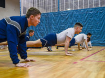 Airmen assigned to the 1st Air and Space Communications Operations Squadron perform pushups during a physical training session March 14 on Ramstein. The 1 ACOS has challenged themselves to complete 435,000 pushups by June 2018. They chose 435,000 as a way to pay homage to their wing, the 435th Air Ground Operations Wing.
