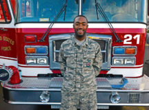 Airman Gregg Randolph, 86th Civil Engineer Squadron firefighter, poses for a photo outside Fire Station One March 7 on Ramstein. As a certified first responder, Randolph understood the sense of urgency required in an emergency situation he encountered on his way home one night.