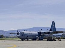 A C-130J Super Hercules is parked on the flight line April 19 at Elefsis Air Base, Greece. Approximately 110 Airmen and three C-130J Super Hercules aircraft from the 86th Airlift Wing's 37th Airlift Squadron will participate in Exercise Stolen Cerberus IV with the Hellenic air force and the U.S. Army until April 28.