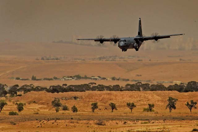A C-130J Super Hercules assigned to the 37th Airlift Squadron makes a low-level approach during a sortie in support of exercise Juniper Falcon May 14 at Nevatim Air Base, Israel.