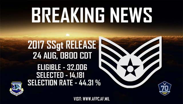 AF selects 14,181 for promotion to staff sergeant