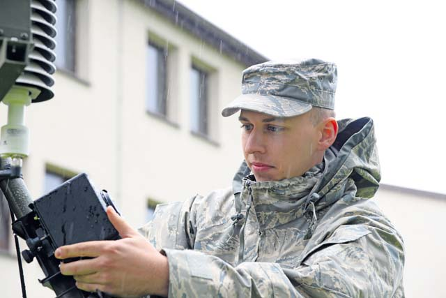 Senior Airman Dylan Scott, 7th Weather Squadron regional weather maintenance technician, performs final checks on a TMQ-53, tactical meteorological observing system, during a demonstration at the Warfighter Weather Conference Sept. 14 on Kapaun. The conference brought together 33 units assigned to several combatant commands, NATO partners, and sister services with the intent to educate and network between operators and leadership.