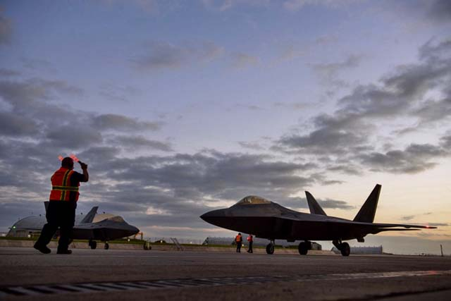 An F-22 Raptor assigned to the 1st Fighter Wing, Joint Base Langley-Eustis, Va., taxis Oct. 13 at Spangdahlem Air Base. This F-22 flying training deployment is an example of how the U.S. is engaged, postured, and ready with credible force to assure, deter, and defend in an increasingly complex security environment.  — Photo by Staff Sgt. Jonathan Snyder