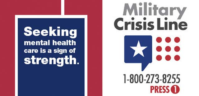 Courtesy Graphic  Although suicide and suicidal attempts don't happen as frequently over the holidays, learn about the available resources to provide help just in case. Servicemembers, including members of the National Guard and Reserves, along with their loved ones can call 1-800-273-8255 and Press 1, chat online at www.MilitaryCrisisLine.net or send a text message to 838255 to receive free, confidential support 24 hours a day, 7 days a week, 365 days a year.