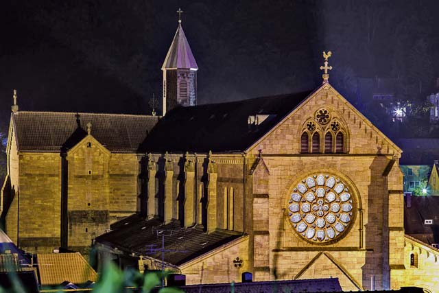 """Just like last year, the Abbey Church will be illuminated from 6 to 10 p.m. Saturday during """"Otterberg Illuminated."""" — Photos by Dominik Troester"""