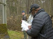 William Hendricks, right, Headquarters U.S. Air Forces in Europe Armed Control and Counter Proliferation treaty compliance officer, roleplays as an inspector during a Conventional Armed Forces in Europe Inspection Exercise Dec. 6 on Ramstein Air Base. Ramstein exercises annually to ensure that it is in compliance with the treaty, which establishes that at any moment, any of the 30 countries can announce that they are giving 36 hours' notice before inspecting Ramstein Air Base for combat capabilities such as combat aircraft.