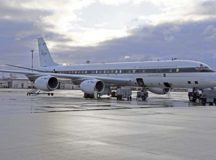 NASA's Armstrong Flight Research Center's DC-8 jetliner on Ramstein Air Base waits to take flight over Europe. The DC-8 is used to gather data to support international scientific experiments.