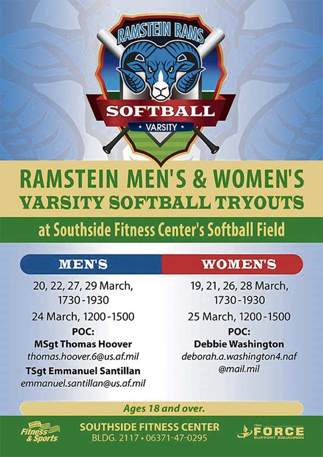 Ramstein to hold tryouts for base softball teams