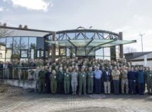 U.S. members and NATO partners from 22 nations stand for a group photo during the Ramstein Aerospace Medicine Summit and NATO Science and Technology Organization technical course March 21 on Ramstein Air Base. This year's theme focused on advances in aeromedical evacuation, human factors, clinical practice and emerging technology.